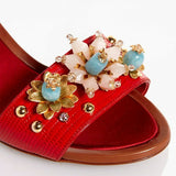 Dolce & Gabbana EUR 35.5 Embossed Leather Bejeweled Flower Heels CR0163 AD368