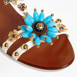 Dolce & Gabbana EUR 40/US 10 Womens Embossed Leather Bejeweled Flower Sandals