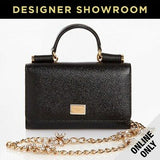 Dolce & Gabbana Sicily Von Belt Black Leather Mini Bag with Crystal Chain