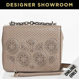 Tory Burch Laser Cut Cream Leather Convertible Mini Crossbody