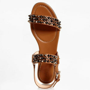 Christian Louboutin EUR 37/US 7 Bikee Leather Studded Sandals -NOISETTE 1160878