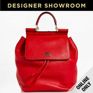 Dolce & Gabbana Sicily Red Leather Backpack