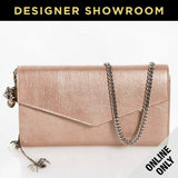 Alexander McQueen Metallic Leather Envelope Clutch Light Pink