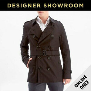 Burberry Mens Belted Black Trench Coat - Black 40REG