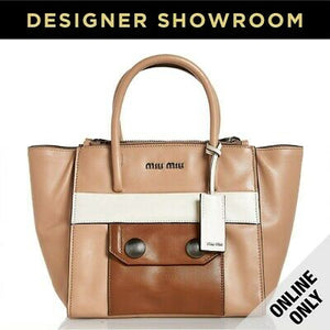 MIU MIU Color Block Leather Convertible Tote