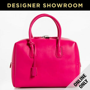 MCM Ella Boston Leather Convertible Satchel Pink