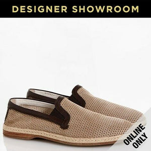 Dolce & Gabbana Mens EUR 43/US 13 Perforated Leather Slip-On Espadrilles Taupe