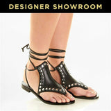 Saint Laurent EUR38/US 8 Leather Studded Wrap-Around Sandals 427923 BZ800