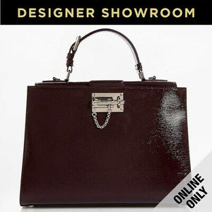 Dolce & Gabbana Monica Embossed Bordeaux Leather Convertible Satchel