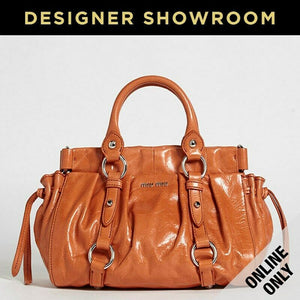 Miu Miu Orange Leather Convertible Mini Bucket Bag