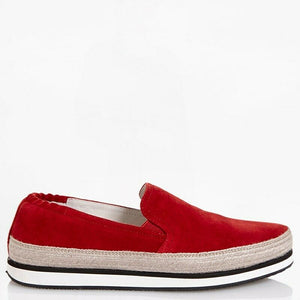 PRADA EUR 36.5 Women Red Suede Espadrille Sneakers