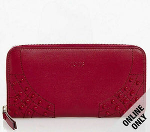 Tod's Gommini Wave Red Leather Zip-Around Wallet