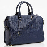 Burberry Blue Carbon Leather Buckle Clifton Convertible Tote
