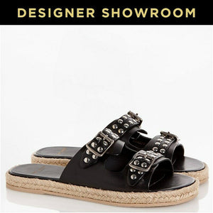 Saint Laurent EUR36/US 6 Women's Leather Studded Espadrille Sandals