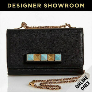 Valentino Black Leather Turquoise Rockstud Crossbody