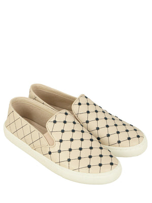 Tory Burch US 9 Women's Beige Leather Logo Slip On Sneaker