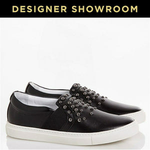 LANVIN EUR 37 Women Black Leather Studded Slip-On Sneakers