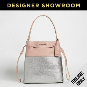 Miu Miu Pink and Silver Leather Metallic Drawstring Bag