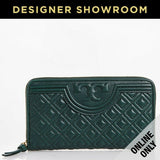 Tory Burch Quilted Nordwood Green Leather Embossed Logo Zip-Around Wallet