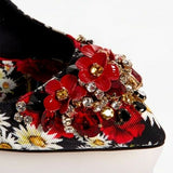 Dolce & Gabbana EUR 38.5 Womens Flower Print Crystal Pumps CD0279