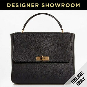 Bally Grained Black Leather Satchel