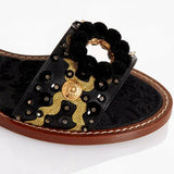 Dolce & Gabbana EUR 35/US 5 Womens Leather Crystal Pom Pom Sandals CQ0080 AD381