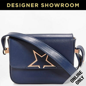 Golden Goose Leather Flap Top Mini Vedette Crossbody Navy