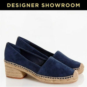 Tory Burch US 10 Women Navy Suede Block Heel Espadrille Pumps