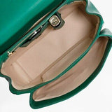 Dolce & Gabbana Margherita Green Leather Flap Top Convertible Bag