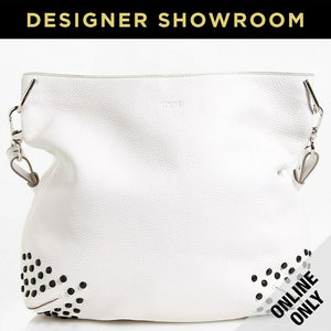 Tod's Gommini Textured Leather Studded Hobo Handbag in WHITE
