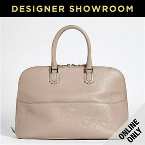 Giorgio Armani Leather Convertible Satchel Color-Beige/Tan