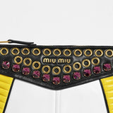 Miu Miu Yellow Leather Bejeweled Clutch