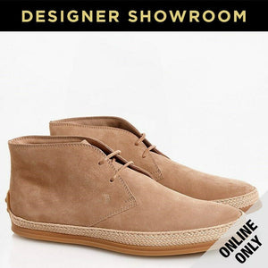 TOD'S US 7 Mens Polacco Gomma Raffia Mens Suede Desert Boots