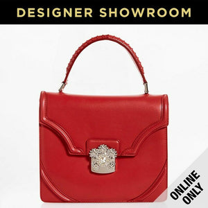 Alexander McQueen Flower Leather Convertible Satchel Brick
