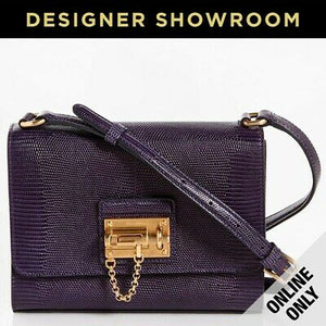 Dolce & Gabbana Monica Embossed Viola Leather Crossbody Bag