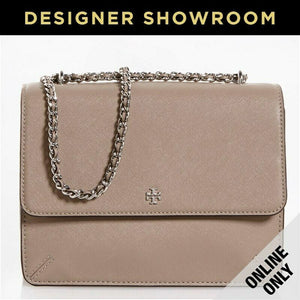 Tory Burch Saffiano French Grey Leather Convertible Flap Top Bag