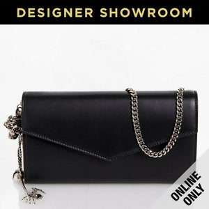Alexander McQueen Leather Skull Charm Envelope Clutch Black