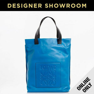 Loewe Leather Logo Shopper Tote Blue