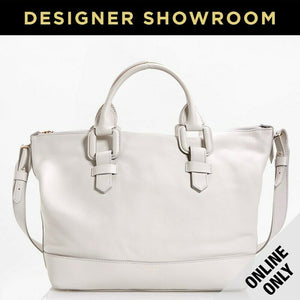 Giorgio Armani Boston Leather Convertible Satchel Color-GhiaccioWhte