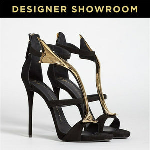 Giuseppe Zanotti US 11 Black and Gold Stilettos I50157