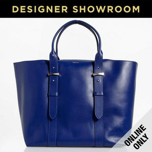 Alexander McQueen Leather Legend Tote Bag with Bonus Pouch Blue
