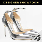Jimmy Choo EUR 39 Lucy Womens Leather Metallic Ankle Strap Pumps LUCY 100 MLE