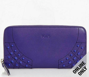 Tod's Gommini Wave Purple Leather Zip-Around Wallet