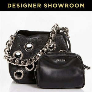 Prada Black Leather Grommet Mini Hobo with Pouch