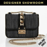 Valentino Denim & Leather Rockstud Mini Bag