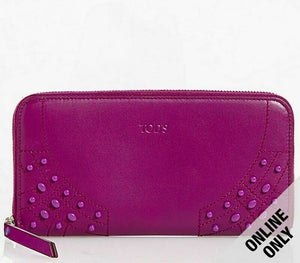 Tod's Gommini Wave Fuschia Leather Zip-Around Wallet