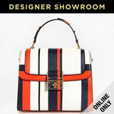 DOLCE & GABANNA Greta Striped Leather Convertible Bag