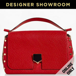 Jimmy Choo Lockett Leather Studded Medium Satchel Red