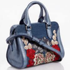 Alexander McQueen Padlock Embroidered Convertible Mini Tote Denim Blue