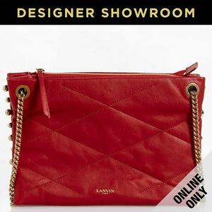 Lanvin Leather Quilted Small Sugar Beads Bag RED